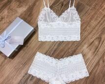 Lace Bridal Lingerie Set/ Honeymoon Lingerie/ Long Line Bralette and Panties