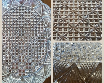 Vintage Incredible Crystal Clear Glass Tray - Pineapple Fans and Stars - Mikasa