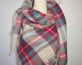 SALE - Soft Plaid Blanket Scarf, Oversized Blanket Scarf, Multi Colored, Red and Green Zara Inspired Blanket Scarf
