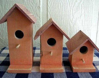 Cedar Birdhouses - Orange, Set of 3 - Decorative For Porch, Deck, Patio, Outdoor or Indoor Rustic