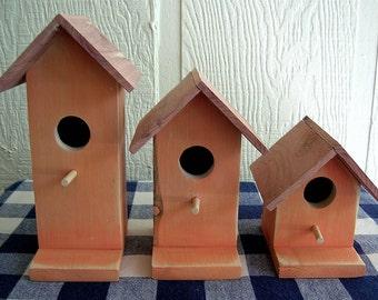 Rustic Cedar Birdhouses - Orange, Set of 3 - Decorative Birdhouses