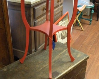 Red Painted Side Table Plant Stand