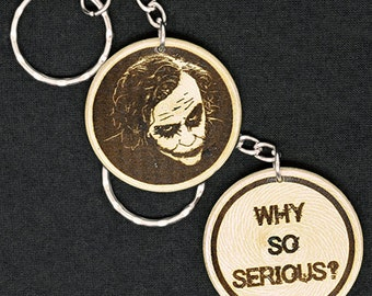 Heath Ledger as The Joker Hand Made Engraved Wood Keyring Keychain by JayEngrave