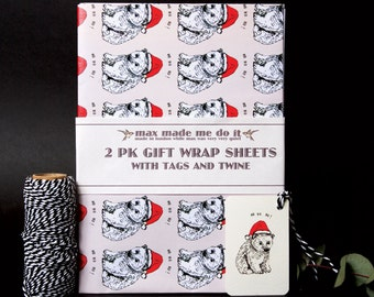 Polar bear cub Christmas wrapping paper pack