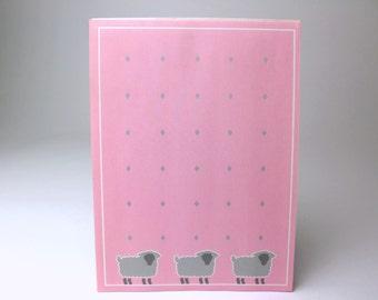 Vintage Herlitz Pink & Grey Sheep Letter Paper Tablet - 26 Sheets - Letter Paper Stationery