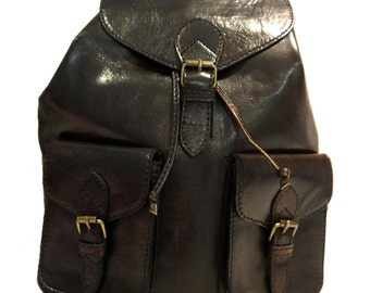 Hand-made Genuine Leather Rucksack Backpack in Brown