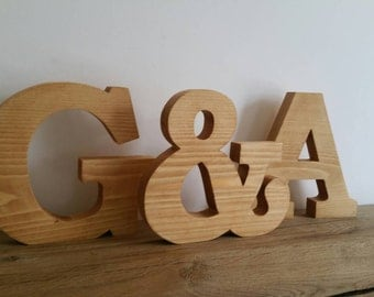 large wooden letters solid wood free standing personalised wedding gift 7 inches high