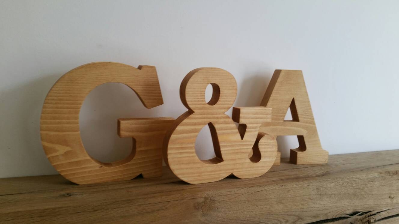 Large wooden letters solid wood free standing by lbwoodcraft for Large freestanding wooden letters