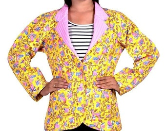 Yellow Floral Quilted Coat Jacket