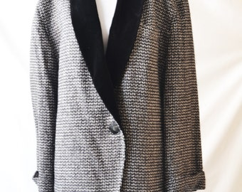 Vintage Black and White Blazer Women's Blazer Black and white Jacket Blazer By Jaegar Size UK 12