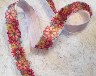 Flower Headband Elastic/Floral FOE Elastic/Elastic by the Yard/Fold Over Elastic/Printed Flower Elastic/Elastic Hair Tie
