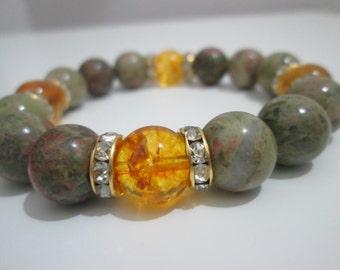 Unaquita and citrine, gemstone bracelet women