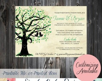 Two Love Birds in a Tree Wedding Invitation