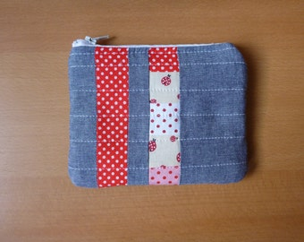 Lady bug quilted pouch - wallet or cosmetic pouch