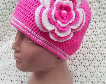Beanie crochet, hat with flower, girl hat.