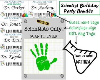 Science Birthday Party / Scientist Nametags / Gift tags