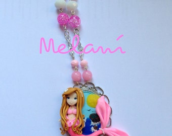 Pink Mermaid necklace on cameo necklace mermaid doll