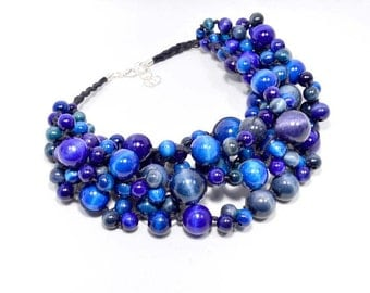 The Blue necklace wooden beads