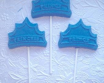 Prince Crown Chocolate Lollipops-Birthday Favors for Boys-Dessert Buffet
