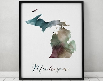 Michigan state map, Watercolor map, Wall art, Michigan map poster, Michigan state watercolor print, fine art watercolor print ArtPrintsVicky