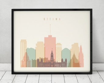 Ottawa art print, Wall art, Ottawa poster, Ottawa skyline, Ontario, Canada, Travel poster, Typography art, Home Decor, Gift, ArtPrintsVicky
