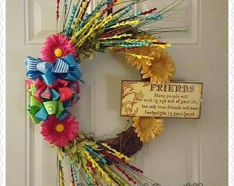 FRIENDS Spring/Summer Colored Grapevine Wreath