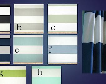 Cabana Stripe Horizontal Curtain Panels Pair Lined Blue Wide 6'' Stripe