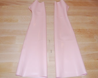 Baby Pink Latex Long Gauntlets Gloves Size S/M