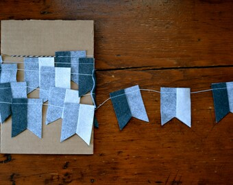 Gray Flag Garland - Felt Garland, Home Decor
