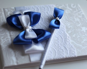 Royal Blue Wedding Guest Book \ Blue Guest Sign in Book and Pen \ Bridal Journal \ Blue Baby Shower Memory Book \ It's a Boy Book for Wishes