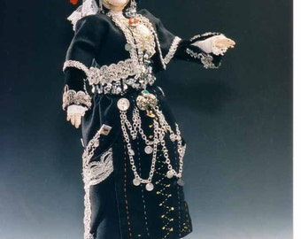 Handmade doll with traditional costume from Macedonia folk folklore sculpted vintage art pose-able Makedonia