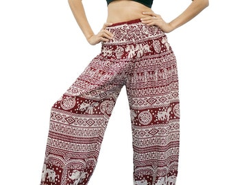 Elephant Thai Harem,Aladdin Pants, Aztec Ethnic Print , Boho Strenchy Pants, Elastic Waist Clothing Beach Women (Red A20011)