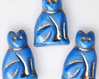 NEW COLOR! 20mm Seated Cat Bead with Gold Detail - Czech Glass Cat Beads - Opaque Blue - Qty 4