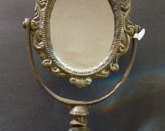 Beautiful Antique Solid Brass Oval Vanity Table Top Mirror With Stand