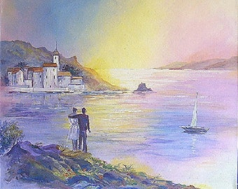 Original Acrylic Painting,Canvas,Seascape painting,Fine Art,Wall Art,Romantic Painting,18 x 22,45 x 55,Valentine day gift,Sunset,Purple,Boat