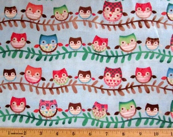 Friendly Forest Owls Blue Fabric From Spectrix