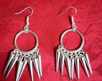 Goth/rock silver spike earrings