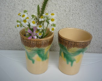 Pair of Vintage Ceramic Cups, Traditional Bulgarian Folk Cups, Art Vase Decor, Rustic Home Decor