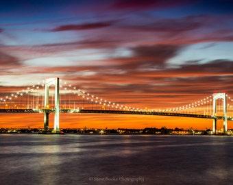 Throgs Neck Bridge, fine art print, nyc, long exposure, night shot, New York, Sunet, Colors, Sky, Throgs Neck Bridge photo, wall art