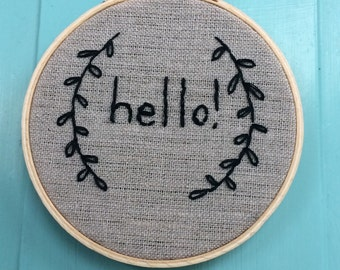 "4"" Hoop Art Embroidered Hello"