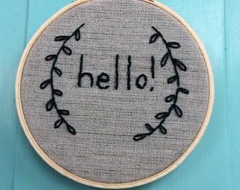 "4"" Hoop Art Embroidered Hello"