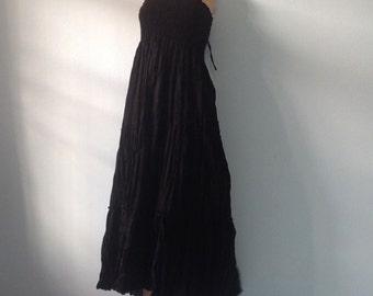 Long Cotton Dress Gipsy Summer Boho Hippie Floaty Fantasy Smocked Black
