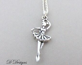 Silver Dancer Necklace, Silver Ballarina Pendant, Ballarina Charm Necklace, Silver Charm Necklace, Silver Necklace, Trendy Necklace