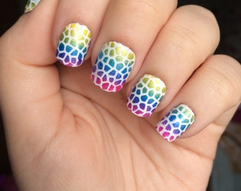 Mosaic Nail Stencils, Mosaic Nail Guides, Nail Stickers, Nail Decals