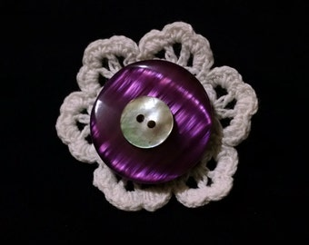 upcycled pin - purple swirl button