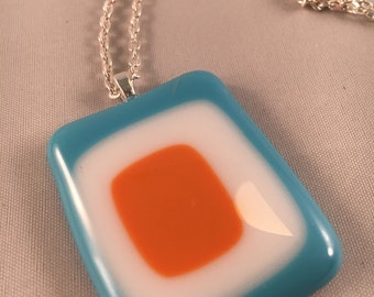 Teal orange and white pendant
