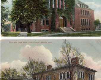 Medford, Massachusetts -  Two great postcards of Tufts College- The Barnum Museum & Miner and Page Hall - 1910's