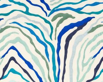 BEACON HILL Kilimanjaro Jacquard Embroidered Linen Fabric 5 Yards Sapphire