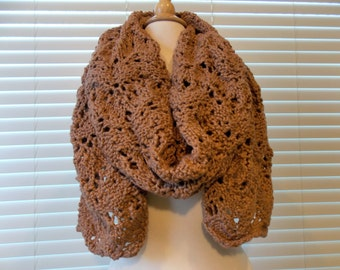 100% Organic Cotton Hand Knitted Scarf/Shawl, Knitted Scarf, Knitted Shawl, Knitted Wrap, Pecan/Brown Scarf/Wrap