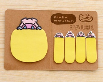 Kohem: Memo & Sticky / Yellow Pig / Cute Kawaii Memo Pad and Sticky Notes / Stationery / Cute Stationary / School Supplies / Bookmark Tabs